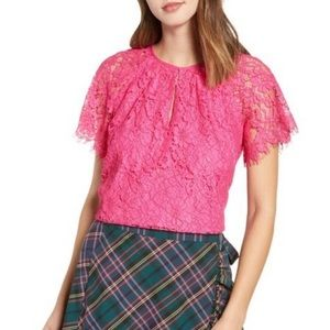J Crew short sleeve hot pink lace blouse top